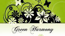 Banner verde con flores y mariposas