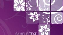 Banner violeta con flores blancas