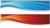 Banners abstractos con ondas en la parte superior