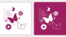 Banners con diseños de mariposas en blanco y violeta