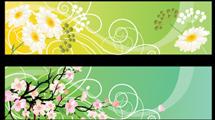 Banners con motivos florales y adornos