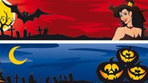 Banners de Halloween con elementos acordes