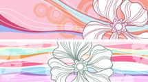 Banners en tonos rosados con grandes flores blancas