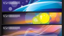Banners en varios diseños con luces de colores y decoraciones variadas