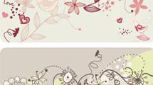 Banners florales con aves y dibujos