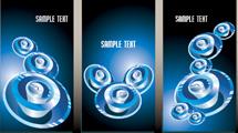 Banners verticales con diseño en 3D circular de color azul
