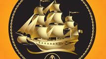 Barco pirata dorado sobre un círculo negro