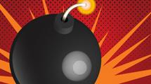 Bomba negra encendida con fondo rojo