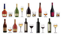 Botellas y tragos variados con y sin frutas o hielo