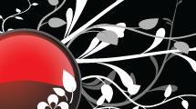 Botón rojo decorativo
