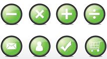 Botones circulares en verde
