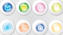 Botones con borde blanco estilo glossy