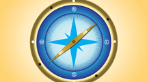 Brújula azul con borde dorado