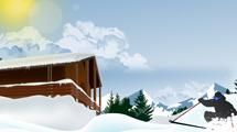 Cabaña nevada con joven practicando sky