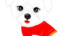 Cachorro blanco con camiseta roja