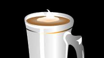 Café Latte en taza blanca