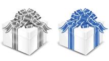 Cajas de regalos con cintas con detalles blancos