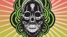 Calavera con círculos verdes