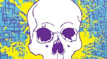 Calavera en azul y amarillo