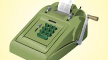 Calculadora vintage verde