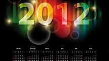 Calendario 2012: Negro con número en neón