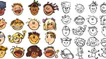 Caras infantiles en dos estilos
