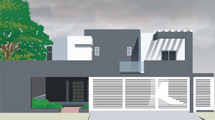 Casa moderna de color gris con blanco