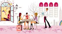 Chicas tomando café con amigas