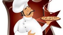 Cocinero con pizza y estrella