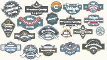 Colección de etiquetas vintage azules y turquesa
