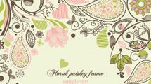 Composición floral con motivos paisley