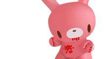 Conejito 3D rosa con manchas de sangre