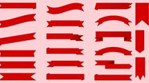 Conjunto de vectores con cintas e insignias