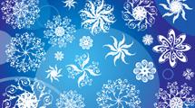 Copos de nieve blancos en fondo azul