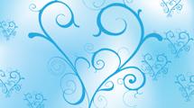 Corazón celeste con swirls