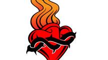 Corazón en llamas con alambre