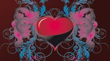 Corazón rojo y negro con alas ornamentales