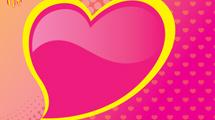 Corazón rosado y amarillo