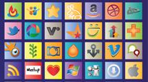 Cuadros con iconos sociales a color