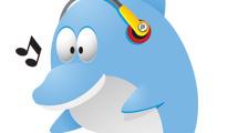 Delfín con auriculares