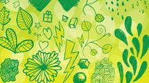 Dibujos a mano variados en verde