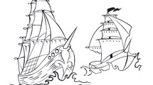 Dibujos de barcos en el mar