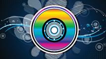 Disco de colores sobre diseño decorativo abstracto de líneas blancas