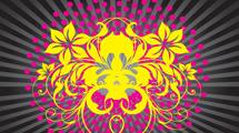 Diseño abstracto con líneas y gran flor amarilla