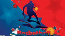 Diseño relacionado al basquet con silueta de jugador en rojo y azul