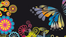 Diseños de mariposas y flores sobre negro