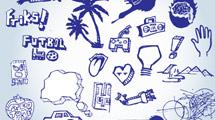 Doodles azules variados