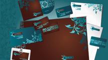 Dos paquetes de identidad corporativa con diseños coloridos y floreados