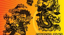 Dragones chinos en dos posiciones