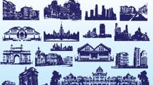 Edificios azules con detalle